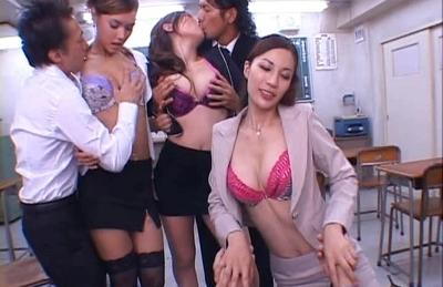 Japanese AV models having a wild orgy