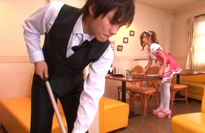 Emiri Senoo Asian waitress spreads her sexy legs