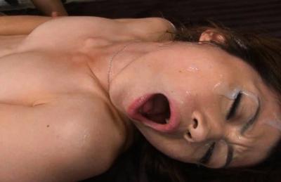 Maki Houjo Asian doll gets her pussy spread wide for a peek