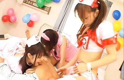 Japanese AV models play nurse and get a hard fucking