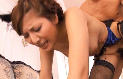Yuna Shiina Lovely Japanese babe has a fuck in a threesome