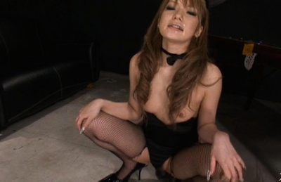 Sena Aragaki Sexy Asian model in fishnets shows off her nice ass