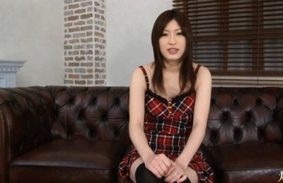 Riko Oshima Asian hottie gives blowjob while getting a fuck from behind