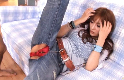Kirara Asuka Hot Asian doll gets her pussy teased in jeans