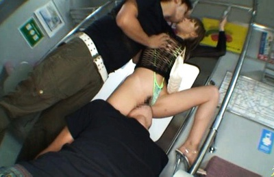 Yuu Kinoshi dressed with transparent lingerie fucks in the subway