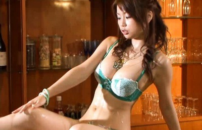 Hot Brunette model Risa Kasumi sucks cock and rides on it