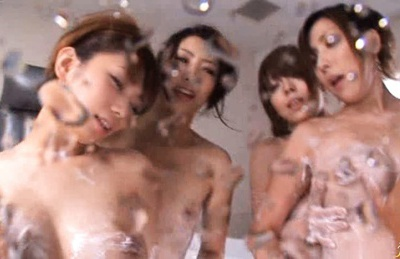 Four hot Av chicks naked in a bathtub and one big dick!
