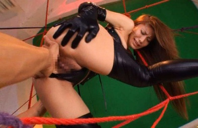 Sana gets fucked hard in the ass when in sexy leather