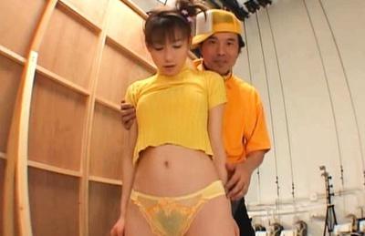 Sexy teen Akane Sakura takes part in a wild orgy at the backstage.
