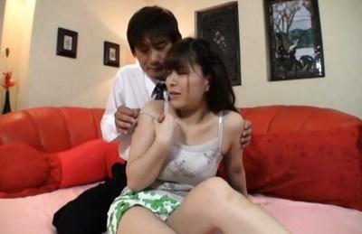 Hot Japanese cock loving teen deepthroats and makes titfuck
