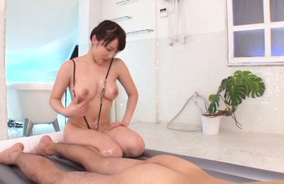 Busty Asian princess Mao Kurata gets oiled and teases dick