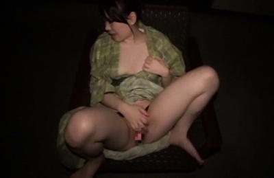 Riko Komori stroking her tight vagina in masturbation