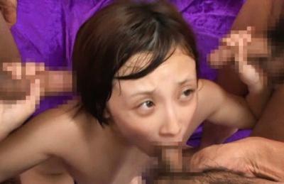 Short-haired Asian AV girl Ayumi Kimino enjoys group sex