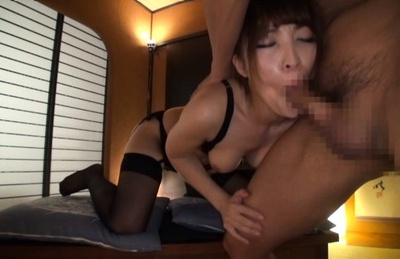 Playful kinky milf in sexy lingerie Kokomi Sakura plays with hard cock