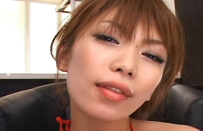 Hikari Hino Asian model in sexy red lingerie shows off