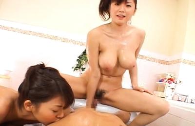 Japanese AV models enjoy getting fucked in the bathroom