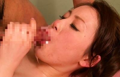 Busty Asian milf Akane Mizusaki gets oiled enjoys deep penetration