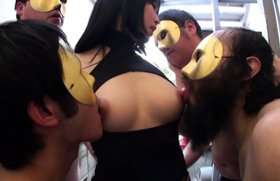 Gorgeous busty vixen Nomiya Satomi in a crazy gangbang action