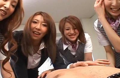 Japanese AV models have a gang bang in the office
