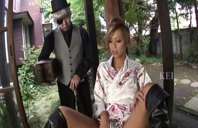 Kei Horny Japanese maid shows off her juicy pussy