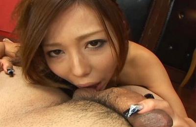 Misa Tsuchiya Lovely Asian babe enjoys sucking cock