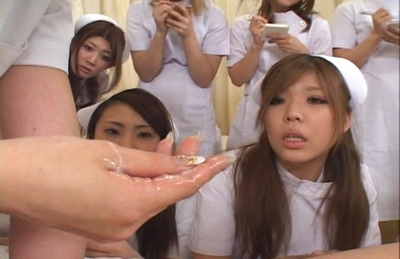 Japanese nurses are having fun with a patient