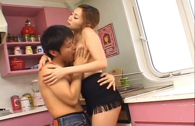 Asami Ogawa Naughty Asian model fucks in the kitchen