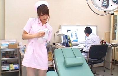 Akiho Yoshizawa Sexy Asian nurse enjoys fucking the doctors