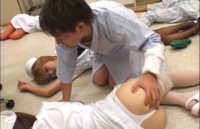 Japanese AV model is a naughty nurse in sexy lingerie