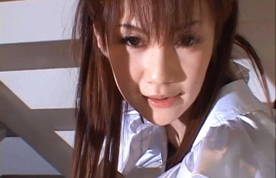 Erika Kirihara Asian babe in uniform gets her pussy tickled with a vibrator